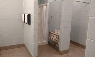 Take a peek at the finished (yes we said finished), ladies showers.  They are finished because of your help!  It's so exciting.