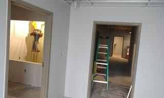 Through the doorway you see here, is the dining area, and new restrooms.  This doorway is also new and will provide a secure entrance for all who need Crossroads.  Now secure from the inside and out!