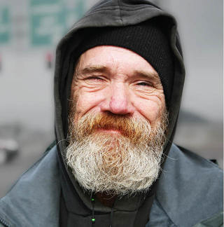 Older Homeless Man in the Cold