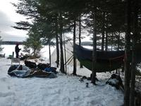 Students winter camping in the Boundary Waters Canoe Area