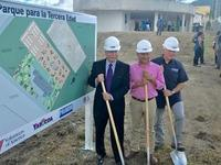 Mike King, Volunteers of America CEO, the mayor of Yabuco and George Pavarini, contractor