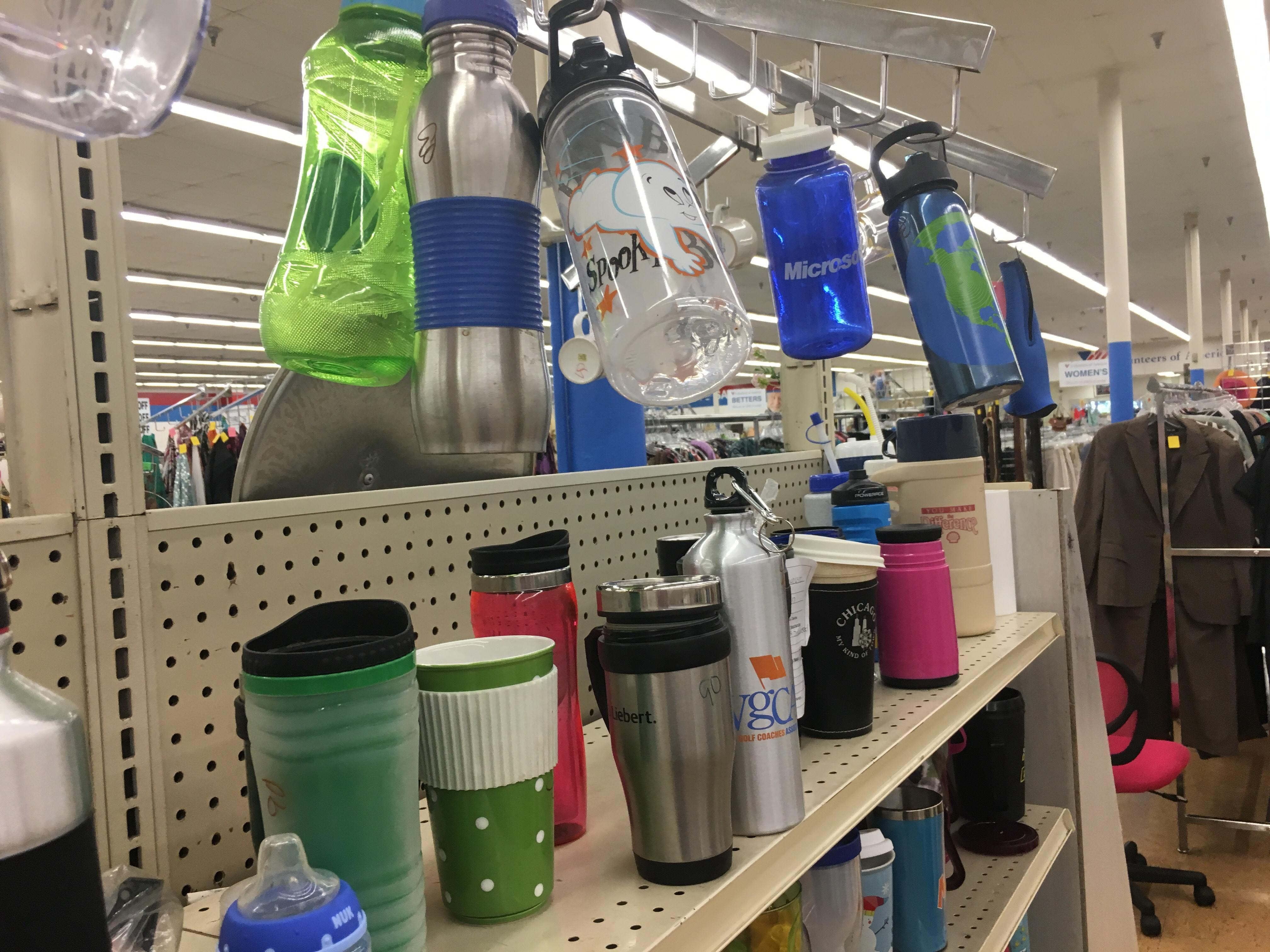 Volunteers of America thrift stores have so many water bottles to choose from