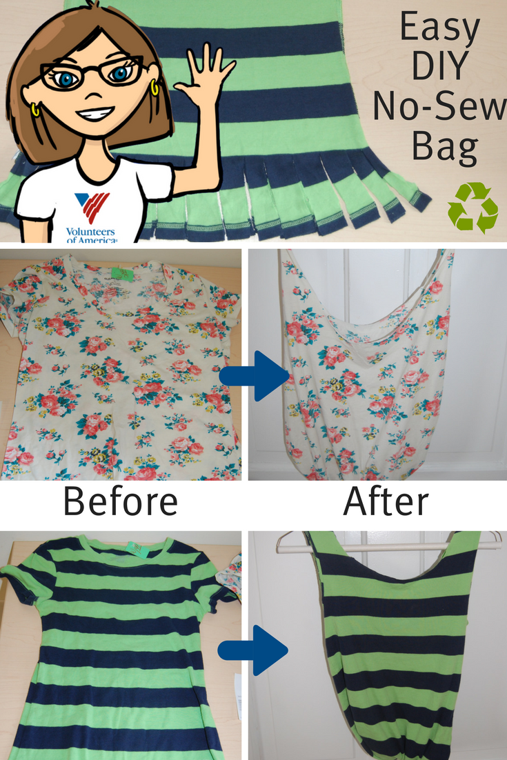 Easy Diy Bag From A Thrift T Shirt News And Events Volunteers Of America