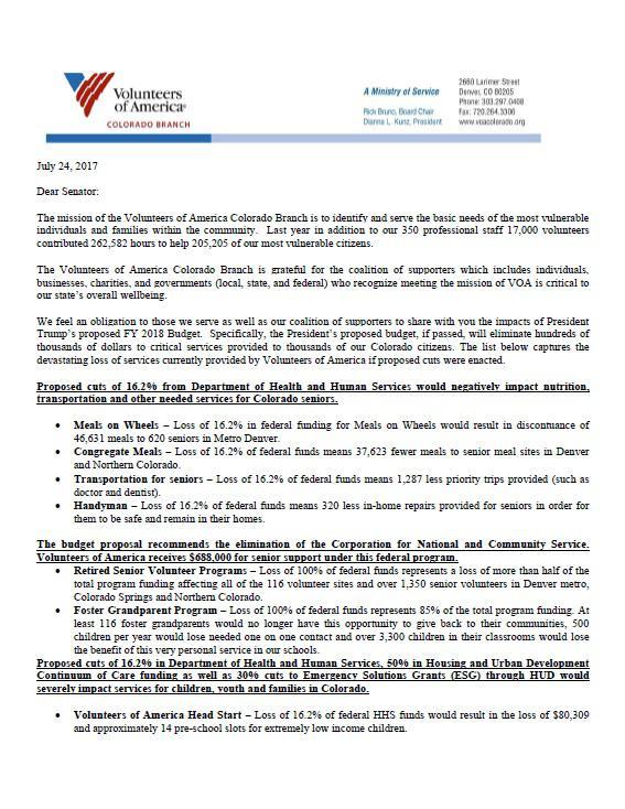 Volunteers of America Letter to Congress
