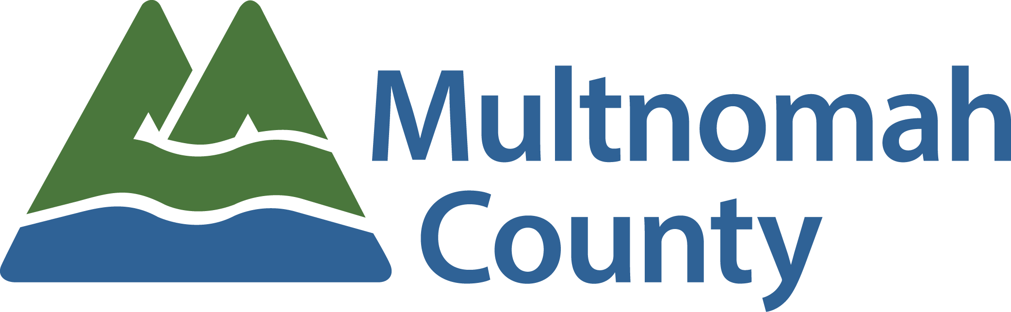 Multnomah county logo with green mountains graphic