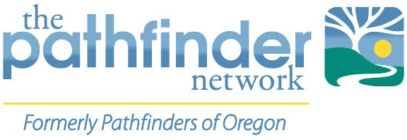 The pathfinder network logo, with path, tree and sun graphic